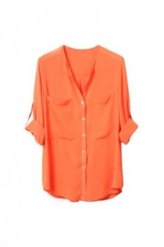 Fitted Two-pockets Long-sleeve Orange Shirt(Coming Soon) [NCSHJ0194] - $26.99 : - StyleSays