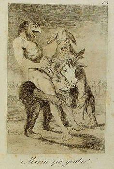 """El título de este aguafuerte es: """"¡Miren qué graves!"""". Es un grabado de la serie Los Caprichos. Está numerado con el número 63 en la serie de 80 estampas. Se publicó en 1799. Explicación de esta estampa del manuscrito del Museo del Prado: La estampa indica que estos dos brujos de conveniencias y autores que han salido a hacer un poco de ejercicio a caballo."""