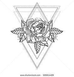 Line drawing of a beautiful rose on a abstract geometric background. Vintage bohemian style. Adult coloring book. Tattoo design, t-shirt print, poster. Vector illustration.