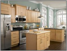 Cappuccino granite countertops cream cabinets google for Oak effect kitchen wall units