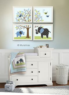 Baby Boy Room, Nursery print, Baby elephant, Green and Brown, 4 prints 8x10, Match Pottery Barn Brooks Nursery Bedding Set on Etsy, $48.00