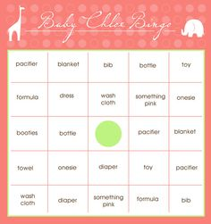 Baby Shower Gift Bingo