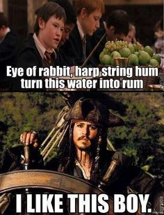 funny-Harry-Potter-Jack-Sparrow-water-rum Of course you do captain Jack. Also you need to hide the rum from will too. He blew it up Harry Potter Humor, Fans D'harry Potter, Funny Harry Potter Pics, All Harry Potter Spells, Harry Potter Movie Quotes, Harry Potter Day, Harry Potter Disney, Always Harry Potter, Harry Potter Facts