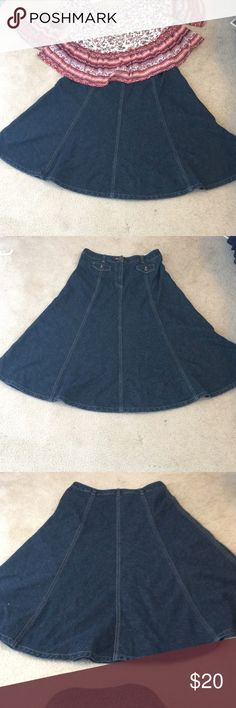 Wide jean skirt!! Super cute! Jean skirt size 4- awesome condition!!  Feel free to offer! Lmk if you have any questions! Jones New York Skirts