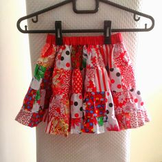 Cute Scrappy Patchwork Skirt Free Pattern. #patchwork