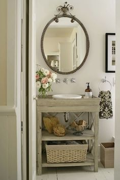 Small bathroom design ~ neutral colors and whitewash storage