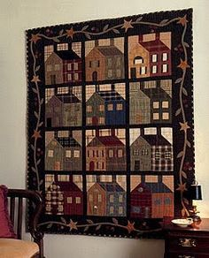 Lately, I have been drawn to house quilts. Love this one.