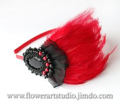 Handmade fascinator for red color headband. The fascinator is very feminine and elegant. Perfectly complement your image of your special moment.