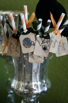 HALLOWEEN carnival straws - love the stamps with the extra embellishments