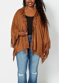 Plus Fringed Faux Suede Poncho | rue21