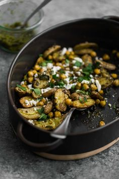 Roasted Potatoes and Chickpeas with Green Harissa #recipes #food #drink #cuisine #boissons #recettes