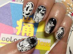 Black and white anime portraits nail design