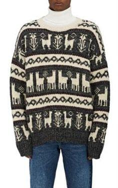 DRIES VAN NOTEN Tardos Llama-Pattern Wool-Blend Sweater. #driesvannoten #cloth #