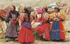 Photo by: Nasrollah Kasraian / our women of the Kurush tribe of Utaylu, Part of the Jalili tribe, migrating to their summer quarters, in Maku, west-azarbaijan / Late 80s