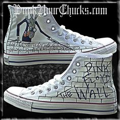 Pink Floyd The Wall Custom Converse Hand Painted Chuck Taylors This design features images from Pink Floyd The Wall! Painted Converse, Painted Sneakers, Painted Shoes, Custom Converse, Converse Sneakers, Custom Shoes, Canvas Sneakers, Sneakers For Sale, High Top Sneakers