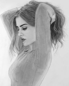 Image may contain: 1 person, drawing You are in the right place about drawing sketches ideas Here we Girl Drawing Sketches, Portrait Sketches, Cool Art Drawings, Pencil Art Drawings, Realistic Drawings, Easy Drawings, Teenage Drawings, Drawing Ideas, Pencil Sketching
