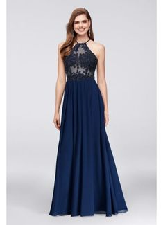 Appliqued Illusion Halter Gown with Chiffon Skirt 169BN