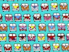 Baumwollstoff Retro-Bus, mint