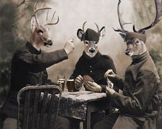 The Poker Game - Vintage Deer Print - Anthropomorphic - Deer Art - Wildlife Art - Digital Art Print - Altered Photo