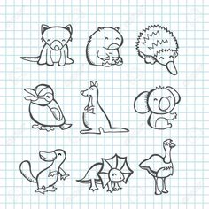 A vector illustration of happy australian animals set in line art doodle or scribble drawing style like tasmanian devil, wombat, echidna, kookaburra, Line Art Vector, Free Vector Art, Kangaroo Drawing, Cute Australian Animals, Australia Animals, Animal Doodles, Doodle Art Journals, Pattern Art, Art Patterns