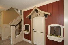 playhouse~oh how I wish I had a finished basement to make this. So cute!