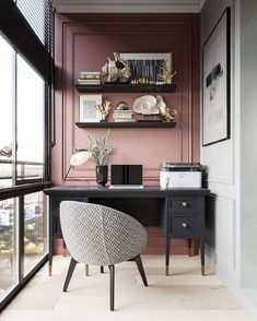 little study nook in front of large floor to ceiling window. Love the p., Gorgeous little study nook in front of large floor to ceiling window. Love the p., Gorgeous little study nook in front of large floor to ceiling window. Love the p. Home Office Decor, Interior, Modern Office Chair, Office Interiors, Mid Century Modern Office Chair, Home Decor, House Interior, Interior Design, Pink Accent Walls