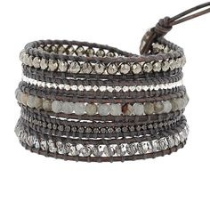Pyrite Sectioned Wrap Bracelet on Natural Grey Leather - Chan Luu