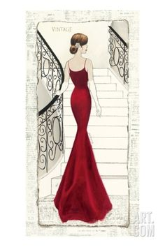 La Belle Rouge Stretched Canvas Print by Emily Adams at Art.com
