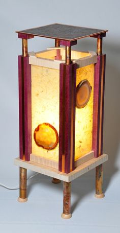 Purple Heart and rice paper lamp with curly maple and colorized copper legs