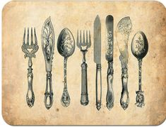 vintage cutlery clipart, cutlery engraving, fork knife spoon graphic, black and white clip art, kitchen printable Vintage Clip Art, Vintage Images, Service Assiette, Vintage Illustration, Retro Poster, Vintage Cutlery, Background Vintage, Textured Background, Kitchen Art