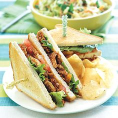 Barbecue Chicken Sandwiches - Move over, clubs, this stacker is sure to headline the sandwich category for the summer. This sandwich is ready to eat in about five minutes, thanks to the use of bottled sauce and store-bought rotisserie chicken. Dress up the bottled barbecue sauce with chili powder and pineapple preserves to add a tangy, homemade taste.