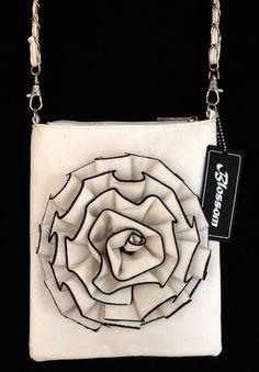 6b952afb118 Flower Rosette Cross Body Messenger Handbag Purse (Choose Color)   The  Wanted Wardrobe Boutique
