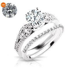 D/VVS1 Diamond White Gold Finish Women's Pretty Wedding Ring With Free Gift…