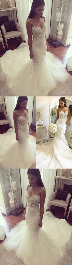 Pretty wedding dress,Spaghetti Straps wedding dress,Sweetheart Wedding Dress ,2017 Summer Sheath wedding dress,Tulle Bridal Gown ,WD1782 #weddingdresses #dreamgown