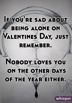 If you're sad about being alone on Valentines Day, just remember.   Nobody loves you  on the other days of the year either.