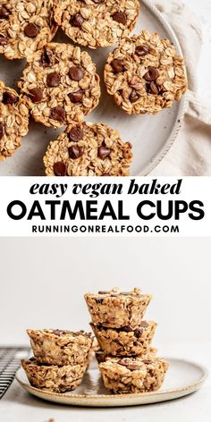Easy baked banana oatmeal cups that can be made wtih just a few simple ingredients and are vegan and gluten-free. Great snack or breakfast idea for kids! Baked Oatmeal Cups, Baked Banana, Baked Oats, Vegan Baked Oatmeal, Banana Bread, Banana Oats, Vegan Finger Foods, Vegan Snacks, Diet Snacks