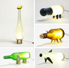 recycled bottles into animal lamps!