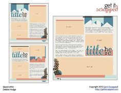 Set of 3 scrapbook page sketches - 3 photos on one page | GetItScrapped.com/blog