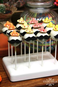 ADORE these! Fiesta party cake pops. These Mexican party nibbles will be loved by everyone!