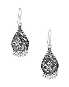 Earrings: Petal Shaped Jhumki; Metal Alloy; Intricate Pattern