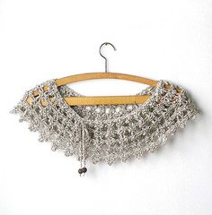 Crocheted collar (Click for more images; I like how it looks over a scoop-neck shirt.)