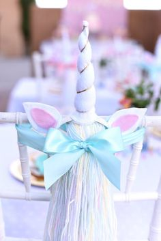 Unicorn horn + tail favors from a Pastel Unicorn Themed Birthday Party via Kara's Party Ideas | http://KarasPartyIdeas.com (34)
