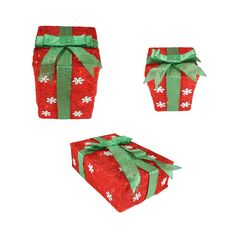 Set of 3 Red Snowflake Sisal Gift Boxes Lighted Christmas Yard Art Decorations