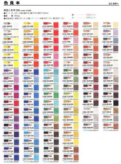 Here is the Uni- polycolor(the water-resistant one)color chat, overall there are 100 colors. I haven't try this yet, but from a Chinese-written colored pencil guide, it's said that Uni polycolor is softer than Derwent, but harder than Stabilo Softcolor, Prismacolor and FC polychormos.