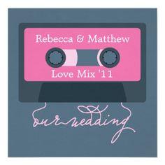 Retro Mixtape Wedding Invitations #wedding #bridal #stationery #invites #invitations #blue #pink