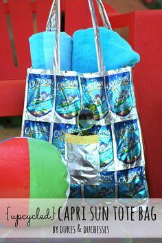 an upcycled capri sun tote bag