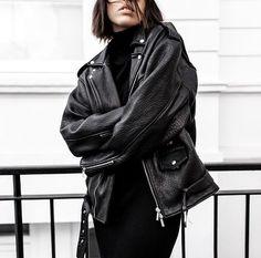 All black leather jacket