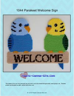 Parakeet Welcome Sign-Plastic Canvas Pattern-PDF Download