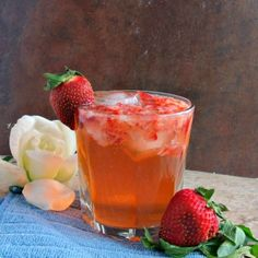 A twist on the Moscow Mule, using strawberries and ginger ale