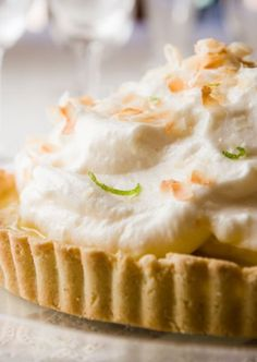 key lime pie gets a healthy make-over. And you can hardly tell it's lightened-up with the ridiculously intense lime curd, tender gluten-free crust and billowy mile-high meringue.
